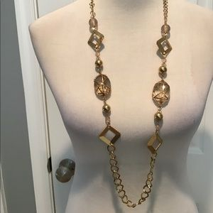 Long Gold Style Deco Necklace